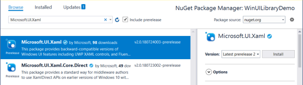 Adding Windows UI Library from NuGet