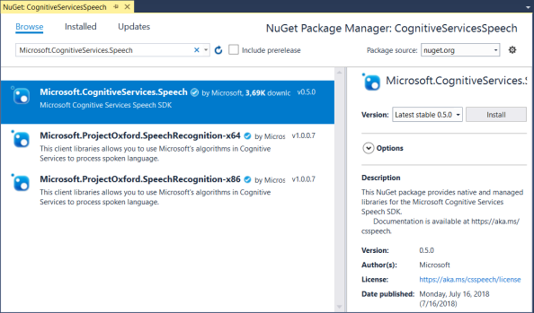 Microsoft.CognitiveServices.Speech NuGet package